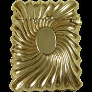 Victorian Solid Silver Vesta Box Hallmarked 1895 Fluted Swirl Case Antique