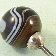 Victorian Banded Agate Ball Hat Pin Silver Mounted
