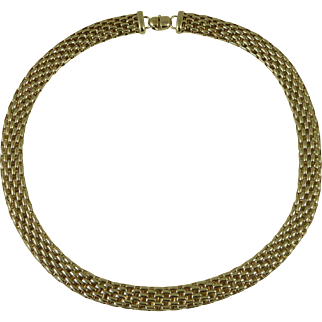 Fope Italian Designer Chunky Sterling Silver Necklace Collar Chain Gold Vermeil Rings