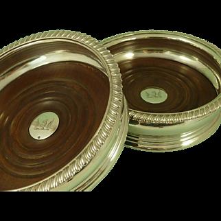 1826 Rebecca Emes & Edward Barnard 1 Pair English Silver Wine Bottle Coasters