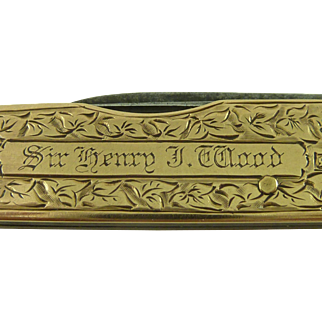 Sir Henry J Wood Conductor 1910 15K Gold Pocket Knife BBC Proms Albert Hall Ibberson Sheffield Antique