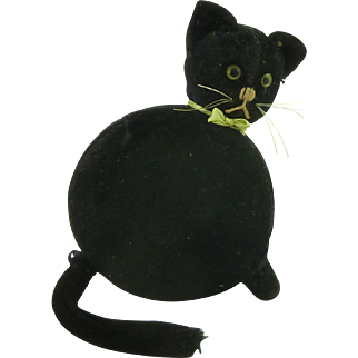 Rare Schuco Novelty Black Cat Powder Compact German Vintage