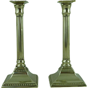 Pair of English Paktong Beaded Base Fluted Column Candlesticks 1780 Antique