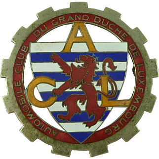 Luxembourg Automobile Club ACL Grand Duche Enamelled Car Badge Vintage