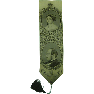 Rare Stevengraph Silk Bookmark Victoria Albert 1862 Charles Newsome Antique