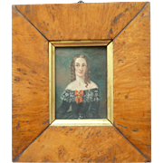 Victorian Miniature Portrait Oil Painting Lady Ringlet Curls Lace Framed Antique