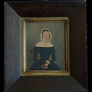 Naive Folk Art Portrait Painting Lady Bonnet Book Bible Gouache Framed Antique