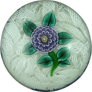 John Deacons 2004 JD Signed Dated Cane Scottish Glass Paperweight Purple Dahlia