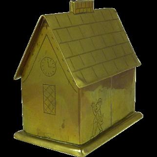 Folk Art Brass House Money Box Man & Wife British Humor Naive Antique