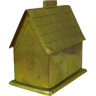 Folk Art Brass House Money Box Man & Wife British Humor Naive Antique