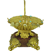 Gilt Brass Ormolu Basket Turquoise Palais Royal Grand Tour Souvenir Antique Filigree French Trinket Jewellery Bonbon