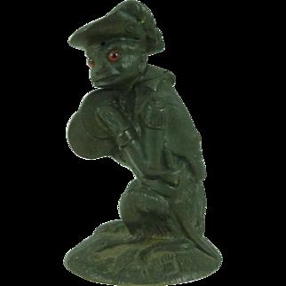 Brass Monkey Military Uniform Match Pot Table Striker Vesta Box Figure Antique