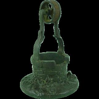 Rare Brass Well Head Go-To-Bed Table Match Pot Striker Vesta Wheel Antique