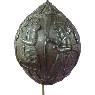 Antique Spanish Colonial Carved Coconut Shell Bugbear Dated 1889 Money Box