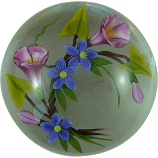 Chris Buzzini Glass Paperweight Floral Morning Glory Clematis Floral Signed 1993