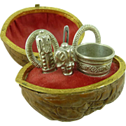 Walnut Shell Etui Thimble Scissors Needle Miniature Sewing Kit Grand Tour French Antique