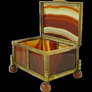 Antique Banded Carnelian Agate Hardstone Box Gilt Brass Trinket French Jewellery