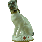 Samson 'Chelsea' Silver Mounted Porcelain Pug Dog Scent Bottle and Stopper