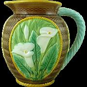 Victorian George Jones Majolica Calla or Arum Lily Jug Pitcher Antique