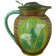 Victorian George Jones Majolica Calla or Arum Lily Jug Pitcher Pewter Lid Antique
