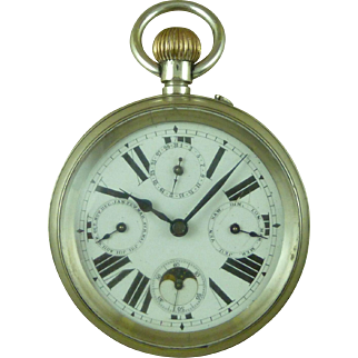 Solid Silver Goliath Moonphase Calendar Pocket Watch Swiss Antique