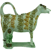 Yorkshire Staffordshire Pearlware Hobbled Cow Creamer Milkmaid Flat Base Antique