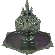 Victorian Renaissance Gothic Revival Bronze Inkwell Censer Latin Incense Antique