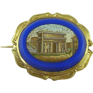 Italian Micro Mosaic Arch of Constantine Gold Brooch Grand Tour Souvenir Antique