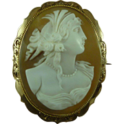 Classical Lady Cameo Brooch Pin 9CT Mark Solid Gold Carved Shell Italian Antique