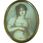 Attractive Young Lady Portrait Miniature Hand Painted Antique