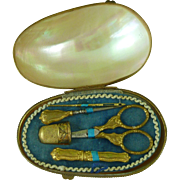 MOP Shell Etui Thimble Scissors Needle Sewing Kit French Necessaire Antique Mother of Pearl Miniature Palais Royal