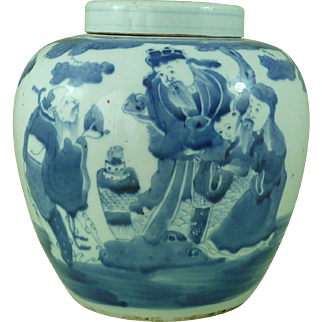 Large Antique Chinese Blue & White Porcelain Lidded Ginger Jar Hand Painted Immortals