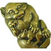 Fierce Cat With Rat Japanese Brass Match Safe Vesta Box Antique