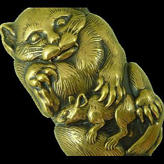Fierce Cat With Rat Japanese Brass Match Safe Vesta Box Antique