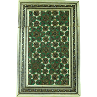 Antique Sadeli Mosaic Ware Visiting Card Case Anglo Indian