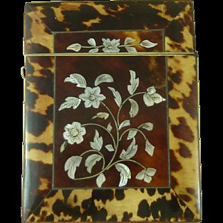 English Victorian Tortoiseshell MOP Floral Visiting Card Case Circa 1840