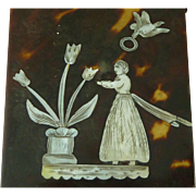Tortoiseshell MOP Inlaid Visiting Card Case English Folk Art Dove Halo Antique