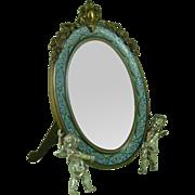 French Champleve Enamel Dressing Table Easel Mirror Gilt Silver Ormolu Cherubs Antique