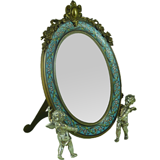 French Champleve Enamel Dressing Table Easel Mirror Gilt Silver Ormolu Cherubs Antique