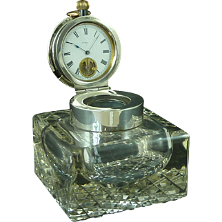 Large 1903 Silver & Glass Inkwell Pocket Watch Holder 8 Day Visible Escapement Stand Antique