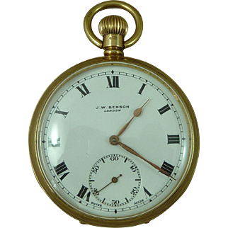 J W Benson Keyless Pocket Watch 9ct Solid Gold London Hallmarked 1937 Vintage