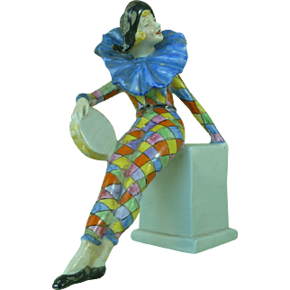 Vintage Rare Wade Figure Anita Pierette Cold Painted Original Figurine Art Deco Harlequin