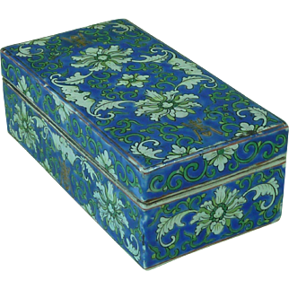 Antique Chinese Porcelain Pen Box Lotus Bat Auspicious Character Blue Ground Brush Enamel Painted Famille Verte