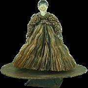 Original Antique Grödnertal Painted Wooden Peg Doll English Fortune Teller Game