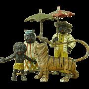 Rare Tin Figures Little Black Sambo Helen Bannerman Toy Antique