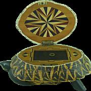 Vintage Anglo Indian Star Tortoise Box Inlaid Ebony Trinket Jewellery Taxidermy