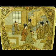 Antique Japanese Satsuma Vase Meiji Signed Mon Signed Pottery Miniature Painting
