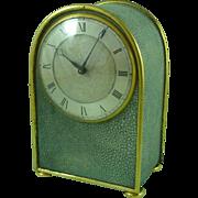 Plain Smart English Art Deco Shagreen & Ormolu Clock Gilt Brass 8 Day