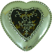 Large Antique 1909 Hallmarked Silver Pique Heart Shaped Trinket Jewellery Box