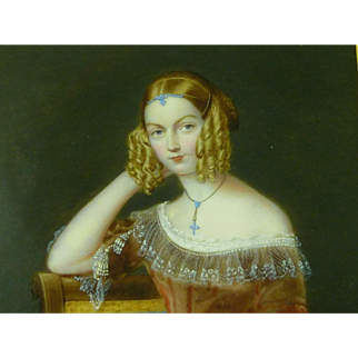 Victorian Portrait Miniature of a Young Lady wearing Jewellery and Sausage Curls